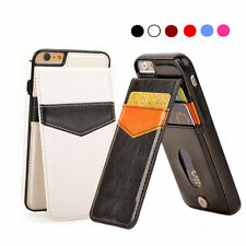 Slim For iPhone 7 6 Plus Leather Wallet Card Credit Holder Stand Back Case Cover