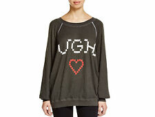 NWT Wildfox Couture UGH Heart Love Long Sleeve Sweatshirt Black Sz S