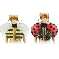 Princess Girls Bumble Bee Ladybird Fairy Wings Fancy Dress Costume Dressing Up