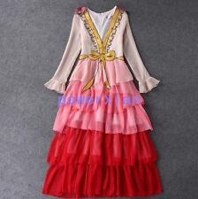 Womens Pink Sexy V Neck Sequin Crystals Bowknot Tiered Evening Party Prom Dress