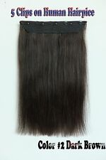 150g Darkest Brown 5Clips On One Hairpieces Clip In Real Human Hair Extensions