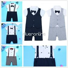 Infant Baby Boy Short Sleeves Gentleman One-piece Romper Jumpsuit Outfit Clothes