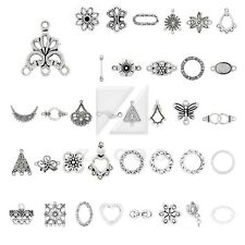 10-300pcs Lots Tibetan Silver Charm Pendant Connector Links Jewelry Findings