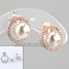 A1-E249 Fashion Micro Inlays Rhinestone Pearl Stud Earrings 18KGP Crystal