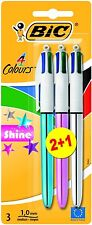 BIC 4 Multi Colour Shine Ball Point Pen Blue Green Pink Silver Purple 3 Pack