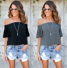 Fashion Women Off Shoulder Boat Neck Short Sleeve Loose Casual Top Blouse Shirt