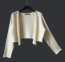 "PERUVIAN CONNECTION : NWOT CROPPED PIMA COTTON CARDIGAN (M) (CH 44"") UK 14 12"