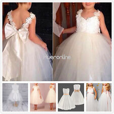 Flower Girl Straps Tulle Dresses Party Pageant Bridesmaid Wedding Prom Ball Gown