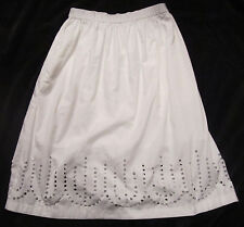 Gap NWT Womens White Circle Eyelet Full Midi Lined Skirt S L $60