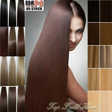 "TOP Grade Real Human Hair Clip In Hair Extensions Full Head 8""-24""Length BS345"