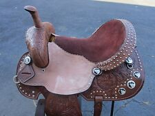 15 16 BARREL RACING SHOW TRAIL PLEASURE BROWN LEATHER WESTERN HORSE SADDLE RODEO