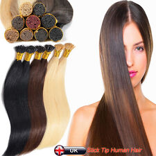 200 Strands Pre Bonded Remy Human Hair Extensions Stick/I Tip 6A QUALITY UK N284