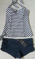EX FAT FACE NAVY MIX NAUTICAL STRIPE NON-WIRED PADDED HALTERNECK TANKINI  6-14