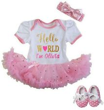 Baby Personalized Name Hello World Glitter Pink Bodysuit Tutu Dress & Shoes