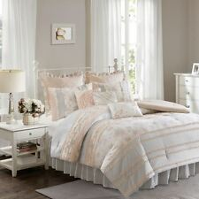 Soft Coral & Grey Floral Ruffled Comforter Bedding Set with Decorative Pillows