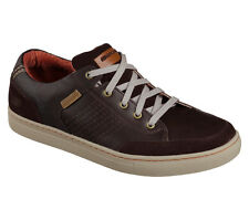 64796 Brown Skechers Shoes Men Memory Foam Relaxed Comfort Casual Oxford Leather