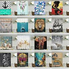 Assorted Fabric Shower Curtain with Ring Hooks Bathroom Dividers Panel Choice
