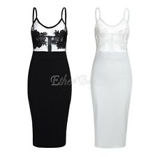 Women's Mesh Lace Floral Bandage Bodycon Sleeveless Evening Party Cocktail Dress