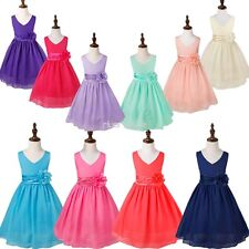 Chiffon Flower Girl Dresses Wedding Pageant Formal Jr. Bridesmaid Kid Party Gown