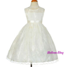 Ivory Floral Embroidery Occasion Dress Wedding Flower Girl Pageant Sz 4-8 FG289