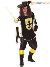 Mens Black Musketeer Man Costume Adults Medieval Fancy Dress Cavalier Outfit