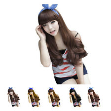 Fashion Women's Fluffy Long Wigs Bangs Curly Wave Full Natural Wig 5 Colors