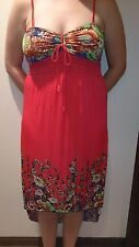 NEW Women's Long Sundress - RED Floral Print, Shoulder Straps - Size Med-XXL