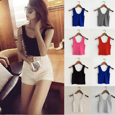 Women's Sexy Casual Sexy Sleeveless Vest Tank Tops Crop Top T Shirt Blouse Cami