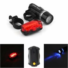 WATERPROOF BRIGHT 5 LED BIKE BICYCLE HEAD & REAR LIGHTS LIGHT 7 MODES WIDE HT