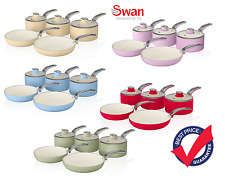 Swan Retro Style 5 Piece Set Aluminium Pan Non-Stick In Choice Of Colour - New!