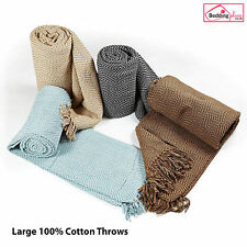 LARGE 100% Cotton Diamond Hand Woven Sofa / Bed Throw Blanket 4 Colours