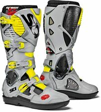 SIDI CROSSFIRE 3 SRS BOOTS BLACK ASH YELLOW FLUO OFF ROAD MOTOCROSS ENDURO MX