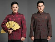 Burgundy Coffee Chinese Men's silk party jacket coat Choengsam Sz: S M L XL XXL
