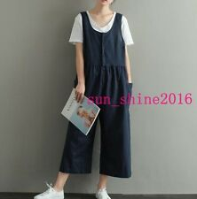 Womens Girls Vintage Linen Blend Jumpsuits Loose Casual Rompers Strap Pants