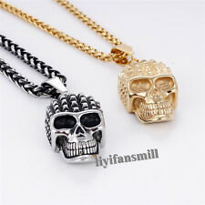 Mens Silver/Gold Tone 316L Stainless Steel Wheat Chain Skull Pendant Necklace