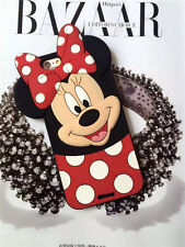 3D Polka Dot Bow Minnie Mouse For Cell Phones  Rubber Silicone Soft Case Cover