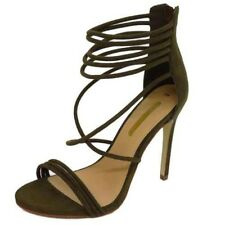 LADIES STRAPPY KHAKI GLADIATOR ZIP-UP PEEP-TOE HIGH-HEEL SHOES SANDALS SIZES 3-8