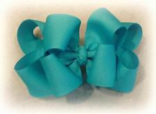 Girls hairbows Big hair bows double layer boutique bow Island Blue Headband Clip