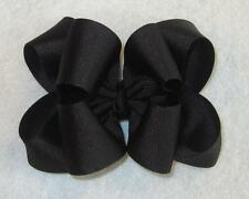 "Girls hairbows Big hair bows double layer boutique bow Black Headband Clip 4"" 5"""