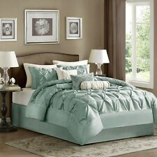 Elegant Seafoam Comforter, Pillow Shams, Bed Skirt AND Decorative Pillows