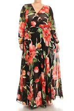 Plus Maxi Dress Floral Tulip Chiffon Sheer Wrap Print Long Sleeve Wrap Sweep