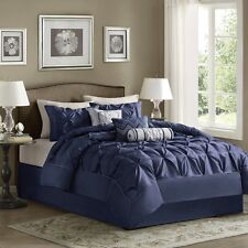 Classy Navy Blue Comforter Set Pillow Shams Bed Skirt AND Decorative Pillows