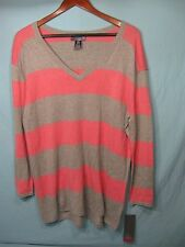 NWT Oh Baby by Motherhood Pink and Gray Striped V - Neck Sweater