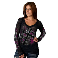 Ladies Long Sleeve CROSS & ROSES Burnout Top Motorcycle Biker Womens Vee t-shirt