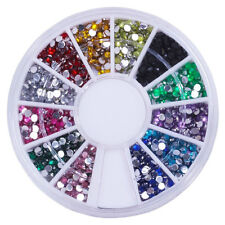 12 Mixed Color Mental Glitter Nail Tool Crystal Flat Back Acrylic Rhinestone F