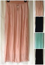 NEW SUMMER LADIES PLEATED LINED CHIFFON LONG MAXI SKIRT WITH ELASTIC WAISTBAND