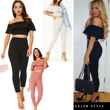 Womens Ladies Ruffle Frill Bardot Off Shoulder Crop Top Fitted Legging Suit Set