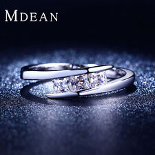 MDEAN White gold plated  Engagement jewelry Classic Round Wedding ring MSR215