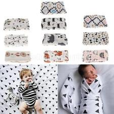 Newborn Infant Baby Swaddling Blanket Muslin Cotton Print Swaddle Towel Wrap