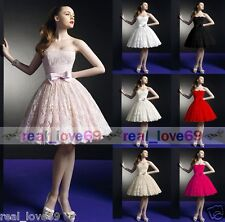 Lace Knee Length Ball Party Prom Bridesmaid Bridal Wedding Dress Stock Size 6-16